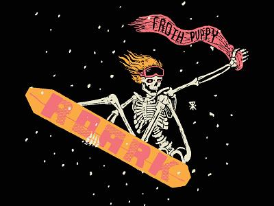 Stalefish Skelly skull 80s type typography art illustration art tee design snowboarding snowboarder snowboard action sports skeletons skeleton illustration