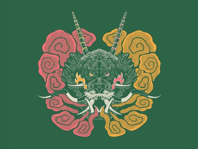 Dragon symmetry symmetrical linework animal art art print apparel flatdesign smoke animal dragon illustration