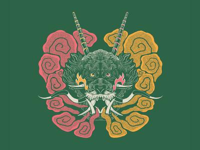 Dragon symmetry symmetrical linework animal art art print apparel flatdesign smoke animal dragon illustration