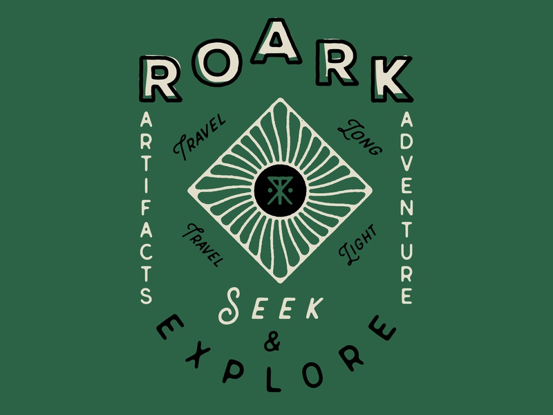 Roark Lockup branding screen print offset type art type illustration vintage surf company roark tee design shirt design lockup typography