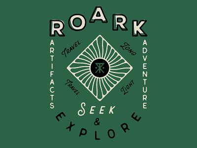Roark Lockup branding screen print offset type art type illustration vintage surf company roark tee design shirt design lockup typography