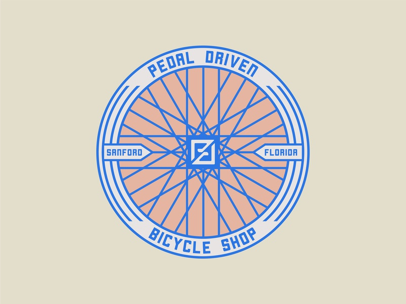 Pedal Driven Badge pedal florida head badge bike shop bicycle branding design branding lockup illustration design logo badgedesign badge logo badge