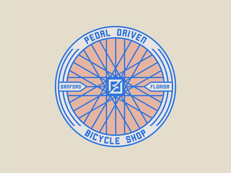 Pedal Driven Badge pedal florida head badge bike shop bicycle branding design branding lockup illustration design logo badgedesign badge logo badge