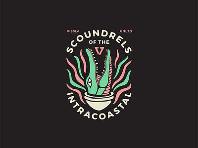 Scoundrels Alligator vissla east coast screenprint tee design typography illustration gator alligator