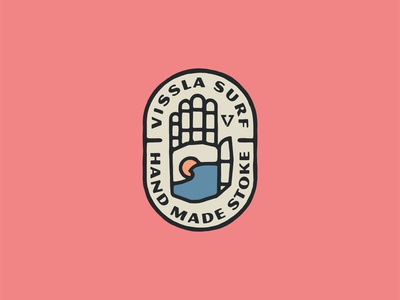Wavehand Badge branding lockup water sun simple design illustration vissla surf wave badge