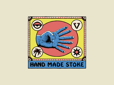 Freakshow surf vissla weird typography hands hand illustration