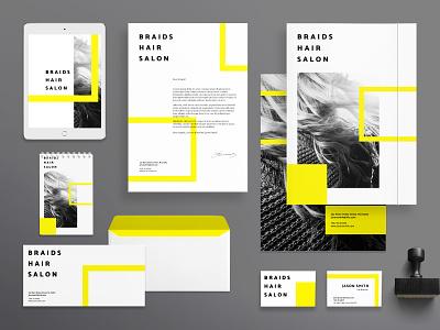 Braids Hair Salon | Modern and Creative Templates Suite branding identity business card poster flyer print banner social media envelope folder cover post