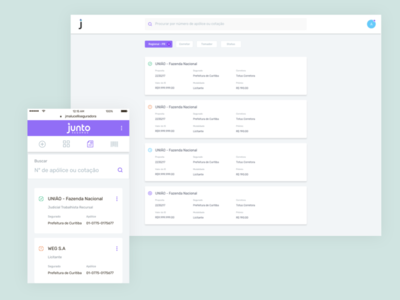 Task Dashboard for an insurtech interaction design responsive mobile ux ui