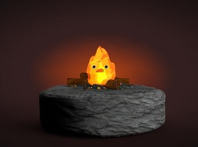 calcifer 1.2 c4d identity branding art design burn studio ghibli anime fireplace fire characterdesign octane lighting 3d cinema4d