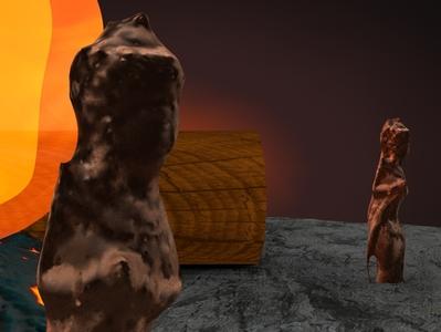 calcifer 1.4 render art abstract design illustration animation lighting octane cinema4d 3d c4d anime fireplace fire statue