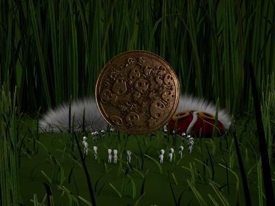 princess mononoke 1.3 identity design art abstract coin grass lighting octane cinema4d 3d c4d animation anime wolfprincess princessmononoke kodama