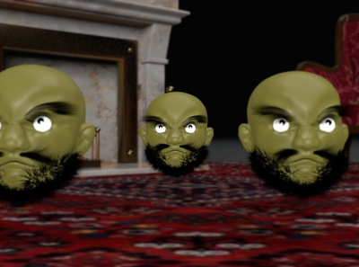 kashira 1.3 fireplace room persian head sculpture sculpting hair animation anime spirited away character design abstract c4d octane lighting cinema4d art 3d