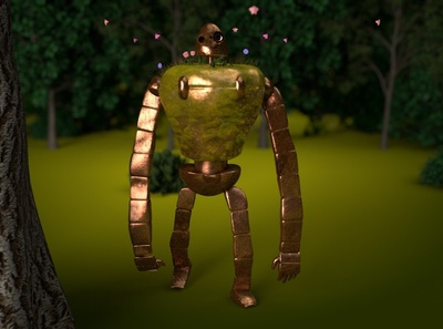 castle in the sky / robot 1.2 castleinthesky movie character butterfly flowers tree nature metal cartoon anime animation motion lighting c4d art octane abstract 3d cinema4d robot