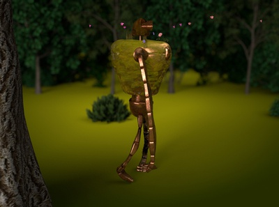 castle in the sky / robot 1.4 flowers moss ancient metal rigging walking material motion studioghibli robot character animation anime c4d art abstract lighting octane cinema4d 3d