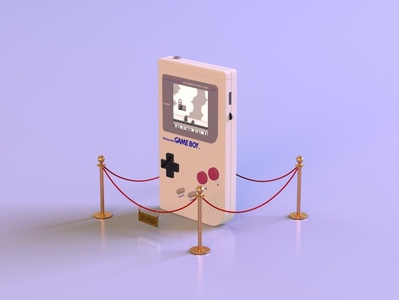 gameboy 1.2 museum animation videogame gameboy mariobros gaming throwback 90s nintendo vintage retro render c4d branding octane abstract lighting cinema4d 3d design