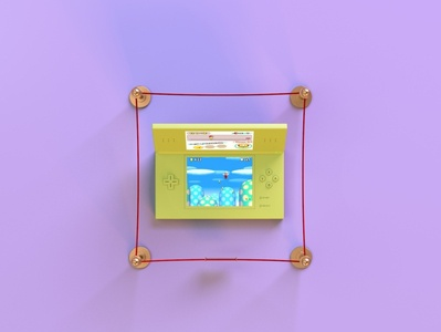 nintendo ds lite 1.4 90s technology vintage retro mariobros nintendods museum throwback gaming videogame render c4d branding octane abstract lighting cinema4d 3d design