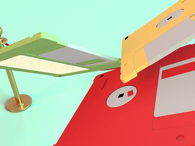 floppy disks 1.4 flying gravity floating vintage retro digital technology floppydisk render identity c4d branding octane abstract lighting cinema4d art minimal 3d design