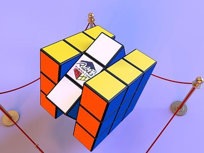 rubik's cube 1.4 throwback game 90s toy vintage retro technology magic rubikscube render identity c4d branding octane abstract lighting cinema4d minimal 3d design