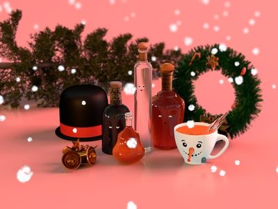 What The Holidays Mean To Me modern theme scenery playoff characterdesign textures illustration trees booze frosty snowman snow winter branding minimal cinema4d 3d christmas alcohol holidays