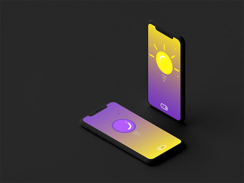 On/Off Switch lightbulb light iphone 10 ios illustrator clean vector logo identity web ux icon branding ui mobile minimal illustration flat design app