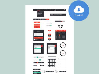 Freebie: UI Kit PSD ui ui kit freebie interface menu breadcrumb music player calendar log in form autocomplete combobox pagination calculator radio buttons check in button navigation search