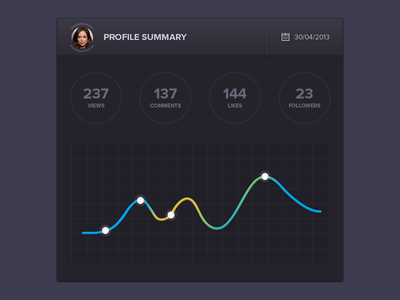 Profile summary widget ui ux interface graph profile summary views