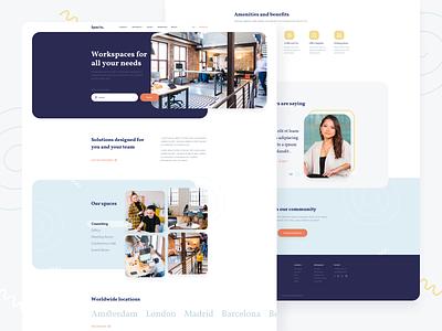 Coworking exploration ux ui landing homepage web design website