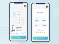 Scooter rent app rating pins map rental app scooter user interface interface mobile mobile design mobile app app ios ux ui