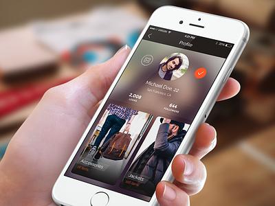 User Profile ui ux user interface user experience ios ios8 app mobile fashion profile user profile