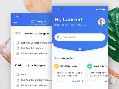 Jobs App search jobs job app design ux ui user interface app ios