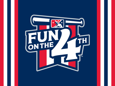 MiLB Fun On The 4th design sports blue white red banner bat icon baseball badge logo 4th of july 4th july 4th fun milb