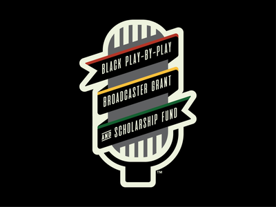 Black Play-by-Play Broadcaster Grant and Scholarship Fund black fund broadcaster grant scholarship banner microphone branding badge design milb baseball logo sports