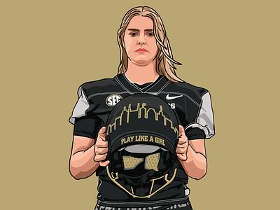 Sarah Fuller sports design kicker play like a girl illustration fuller sarah procreate ipad vanderbilt vandy soccer football college
