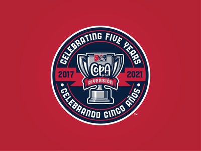 Copa de la Diversión 5th Anniversay Season Logo anniversary season years five 2021 2017 cup fun trophy branding badge milb copa design baseball logo sports