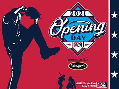 MiLB is BACK icon prospect fun major batter catcher pitcher illustration badge day opening milb design baseball logo sports