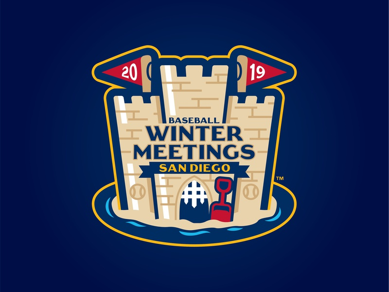 2019 Baseball Winter Meetings app flag sand castle sand mlb milb san diego 2019 meetings winter baseball