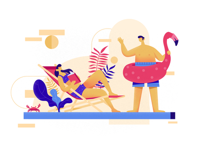 Pool Conversation man girl pool party pool illustration design character motionstory