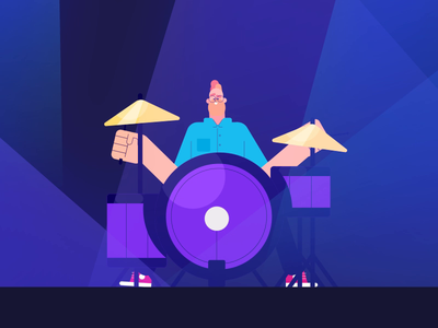 Jazzy Drummer playing jazzy drummer illustration funny man loop design character motionstory animation