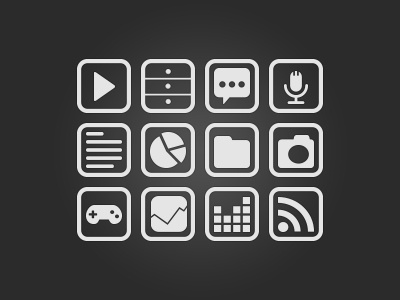FranceTV Education Icons icons icon flat ui interface buttons button format formats play folder data infographic game flux rss text article comment sound microphone desktop commode rounded photo image