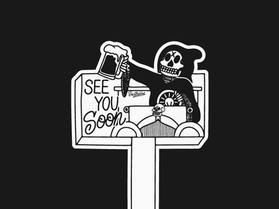 See You Soon lettering typography graphic design vintage grunge hand drawn scoundrel chicago skull art skull illustration