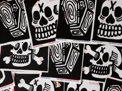 Lino printing stickers
