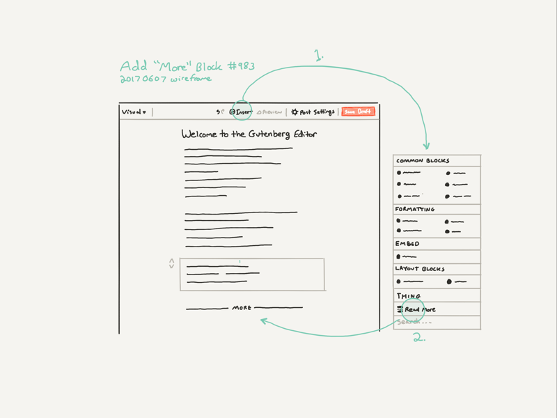 Wireframe flow interface design ux ui wireframe gutenberg wordpress