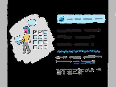 Illustration for a sales page illustration design sketch