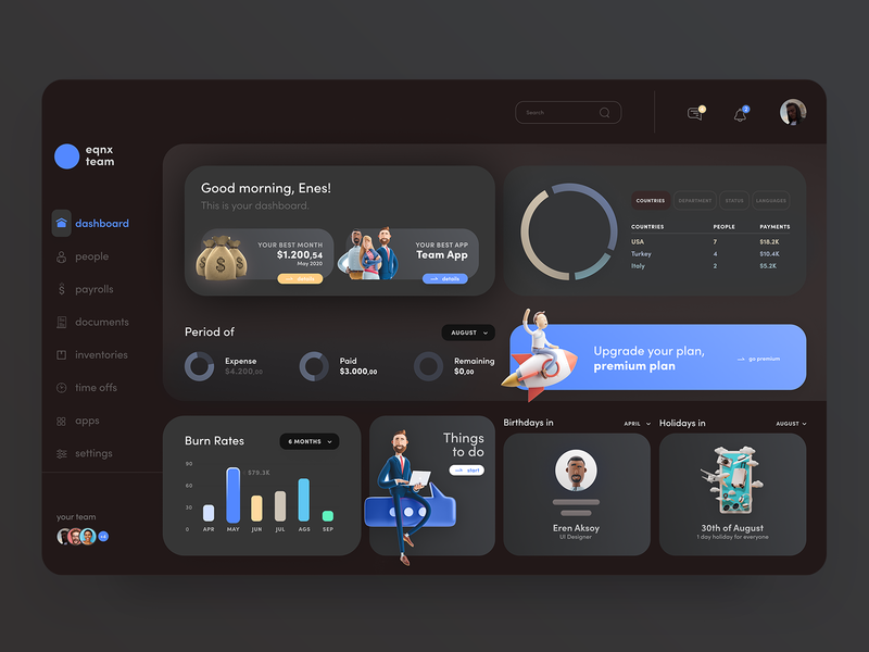 Dashboard for Teams - Dark Mode - UI ux remote management application system work interface ui growth infographic team dark mode dark drawing data dashboard app