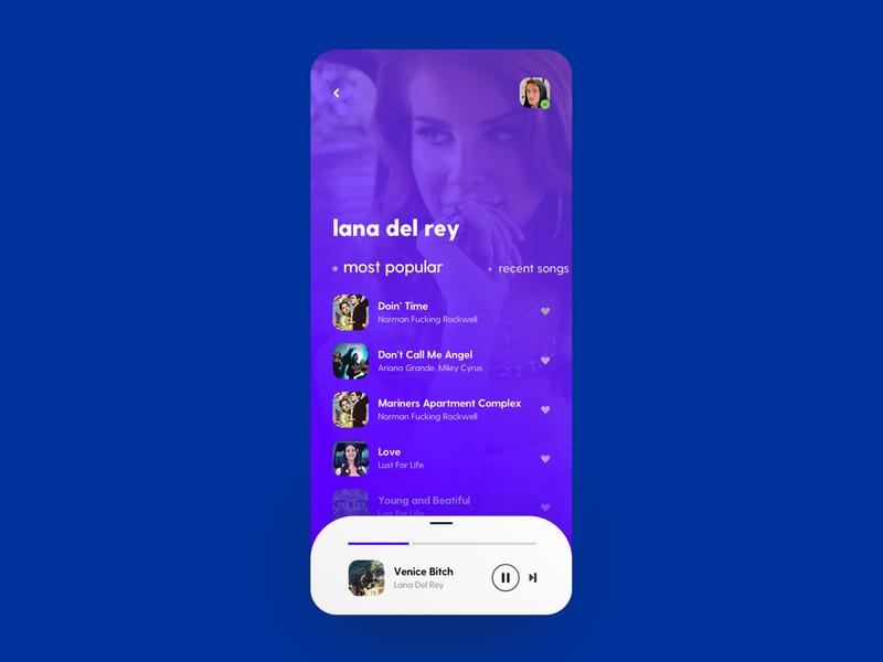 Music Player iOS App UI Design music player user interface ios lana lana del rey player app music app song player music sketch mobile app design ui