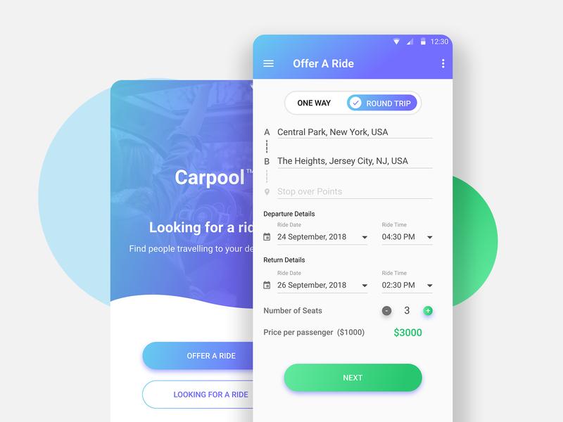 Carpool Concept Design car pool car booking mobile app car app concept design