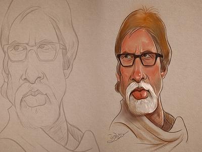Caricature & Cartoon   Amitabh Bachchan fineart fine art character design game design sketching illustation cartoon art caricature