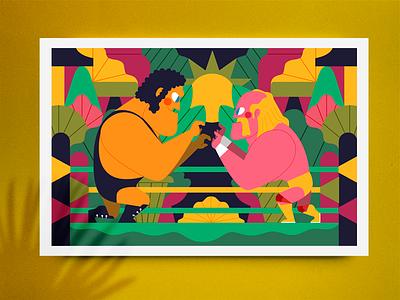 "ANDRÈ ""THE GIANT"" vs. ""HULK"" HOGAN wrestling wwe character design vector jhonny núñez ilustración illustration"