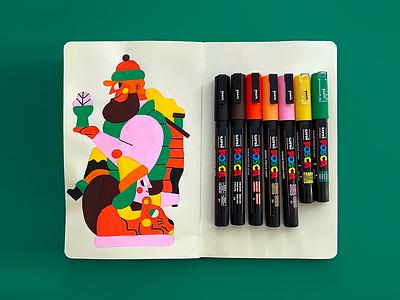 POSCA ART sketch book balck book posca uni painting handmade jhonny núñez ilustración illustration