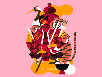 Cranberry & Blood Orange Cider - Samurai ukiyo-e samurai jhonny núñez ilustración illustration